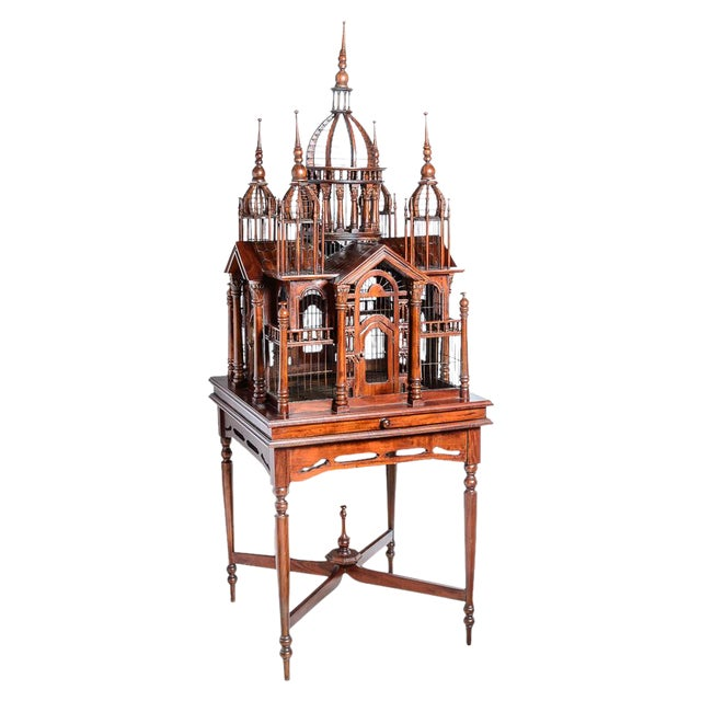 C.1880, mahogany and wire, Architectural bird cage with fine detail.