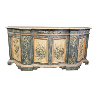 Italian Hand Painted Scalloped Front Sideboard For Sale