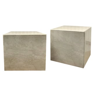 Vintage Danish Modern Limestone Cube Tables - a Pair For Sale