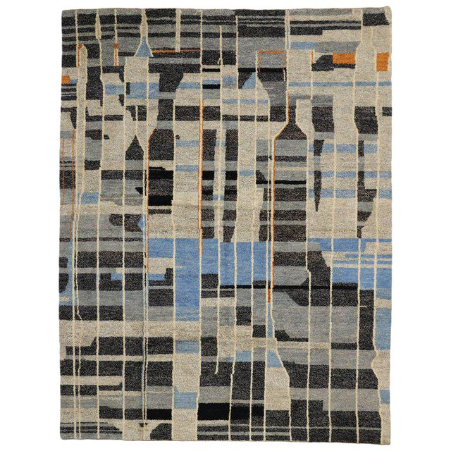 Contemporary Moroccan Style Rug with Modern Design For Sale