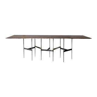 Zigzag Walnut and Brass Dining Table by Atra For Sale