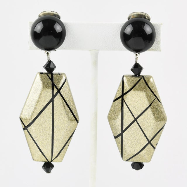 Angela Caputi Dangling Clip on Earrings Black and Pale Gold Resin For Sale In Atlanta - Image 6 of 6