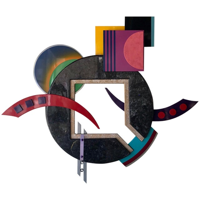 Memphis Style Multi-Media Wall Sculpture For Sale