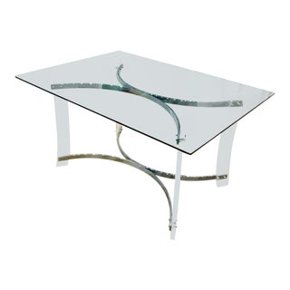 1970s Vintage Lucite and Chrome Table Base For Sale