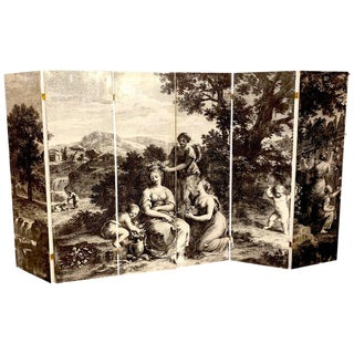 Italian Fornasetti Style Six-Panel Neoclassical Black and White Screen For Sale
