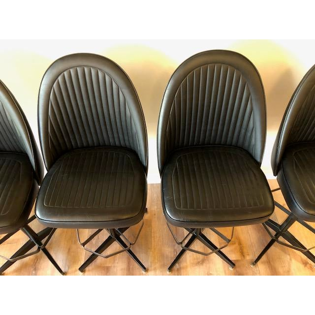1970s Industrial Modern Swivel Counter Stools by Cal-Style- Set of 4 For Sale - Image 5 of 7