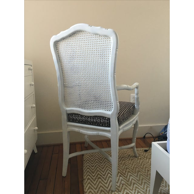 White Faux-Bamboo & Cane Armchair For Sale - Image 4 of 6
