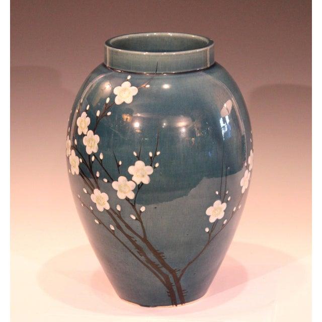 Antique Awaji Pottery Japanese Prunus Cherry Blossom Signed Ikebana Flower Vase For Sale - Image 9 of 10