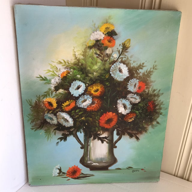 Canvas Vintage Vibrant Floral Painting on Canvas For Sale - Image 7 of 8