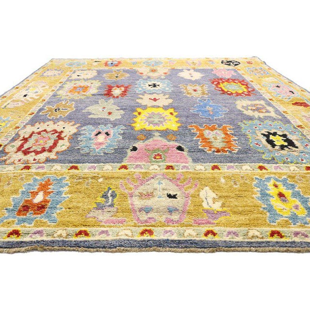Textile Contemporary Oushak Inspired Area Rug - 9′3″ × 12′5″ For Sale - Image 7 of 9