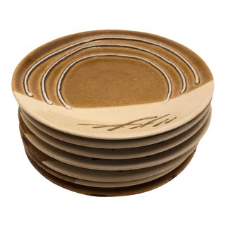 Japanese Mustard and Cream Glazed Studio Pottery Small Plates - Set of 7 For Sale
