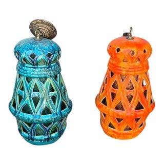 Vintage Teal and Orange Mid-Century Tiki Style Ceramic Pendants - a Pair For Sale