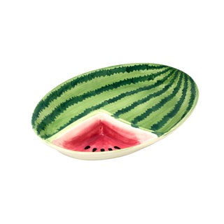 Ceramic Watermelon Chip and Dip Tray For Sale