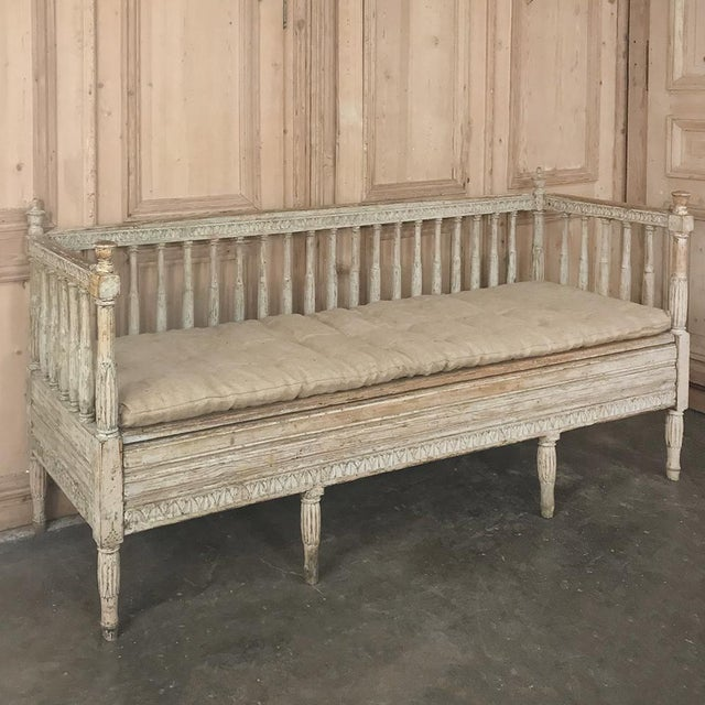 Wood 18th Century Swedish Gustavian Period Day Bed ~ Hall Bench Ca. 1790 For Sale - Image 7 of 13
