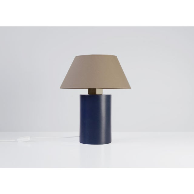 Modern Bolet Midnight Blue & String Table Lamp - Small For Sale - Image 3 of 6