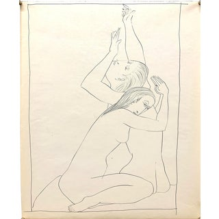"""Donald Stacy """"Reaching and Praying"""" C.1950 Ink Mid Century Drawing For Sale"""