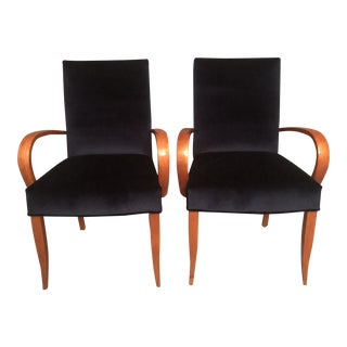 1970s Vintage Style Bentwood Arm Lounge Chairs- A Pair For Sale