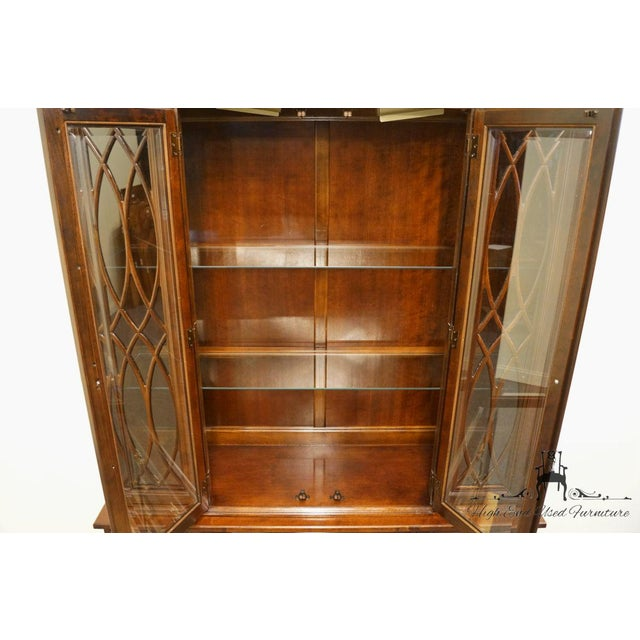 Late 20th Century Late 20th Century Vintage American Drew Cherry Chippendale China Cabinet For Sale - Image 5 of 13