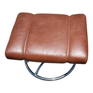 Ekornes Brown Leather Stressless Lounge Ottoman For Sale