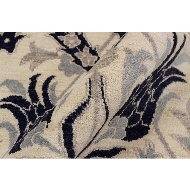 Asian Kafkaz Peshawar Floyd Ivory/Drk. Blue Wool Rug - 8'0 X 10'2 For Sale - Image 3 of 8