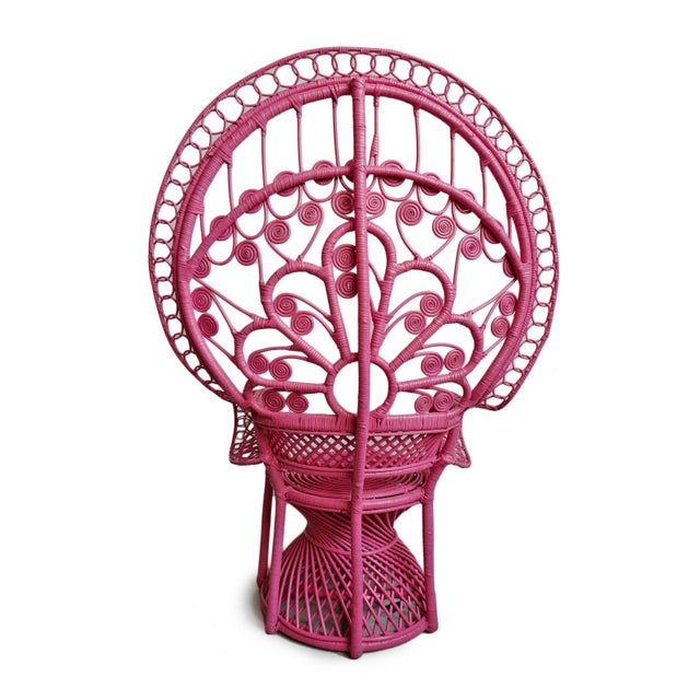 Pink Peacock Wicker Chair For Sale - Image 4 of 8