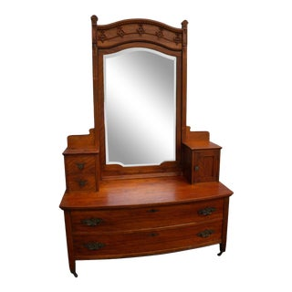 Victorian Early 1900s Tall Carved Vanity Dresser With Mirror For Sale