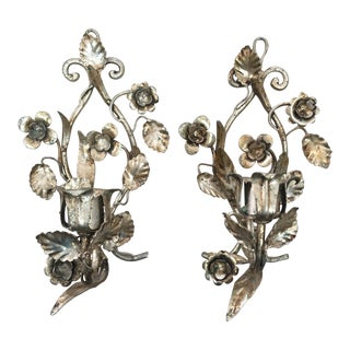 Vintage Hollywood Regency Style Silver Gilt Tole Floral Sconces - a Pair For Sale