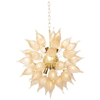 "Murano clear/gold glass ""flame"" mid century modern sputnik Mazzega chandelier"