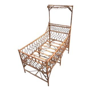 Antique Victorian Wicker Youth Bed With Quarter Canopy Bed by Heywood Brothers Gardner Ma For Sale