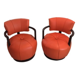 1950s Mid-Century Modern Gilbert Rhode Swivel Chairs - a Pair