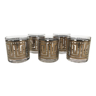 Greek Key Cocktail Glasses With Gold Detailing - Set of 5