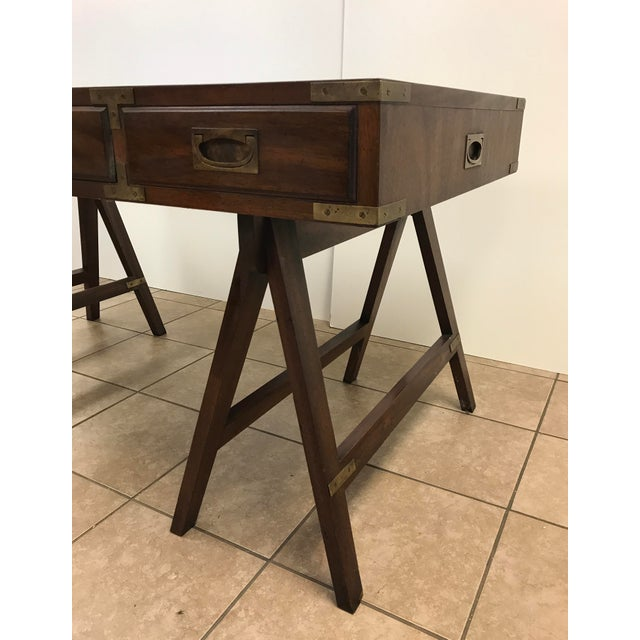 Rosewood Campaign Desk with Leather Top For Sale - Image 9 of 9