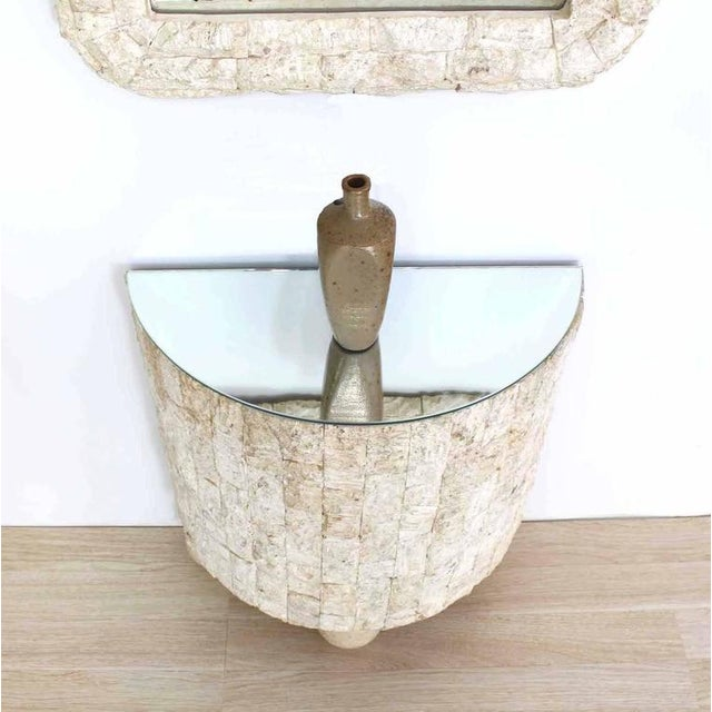 Mid-Century Modern Crushed Rock Tile Console Table with Mirror For Sale - Image 3 of 9