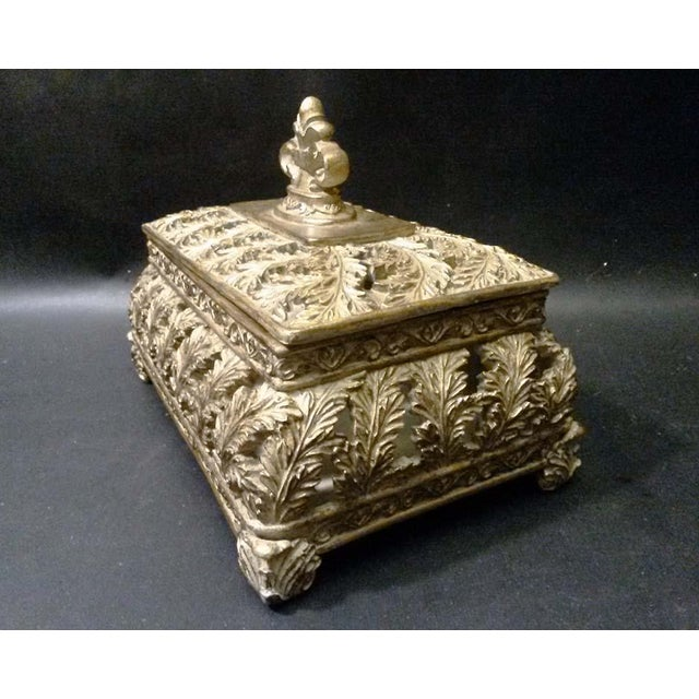 Scrolling Openwork Leaf Design Gold Footed Box - Image 4 of 5
