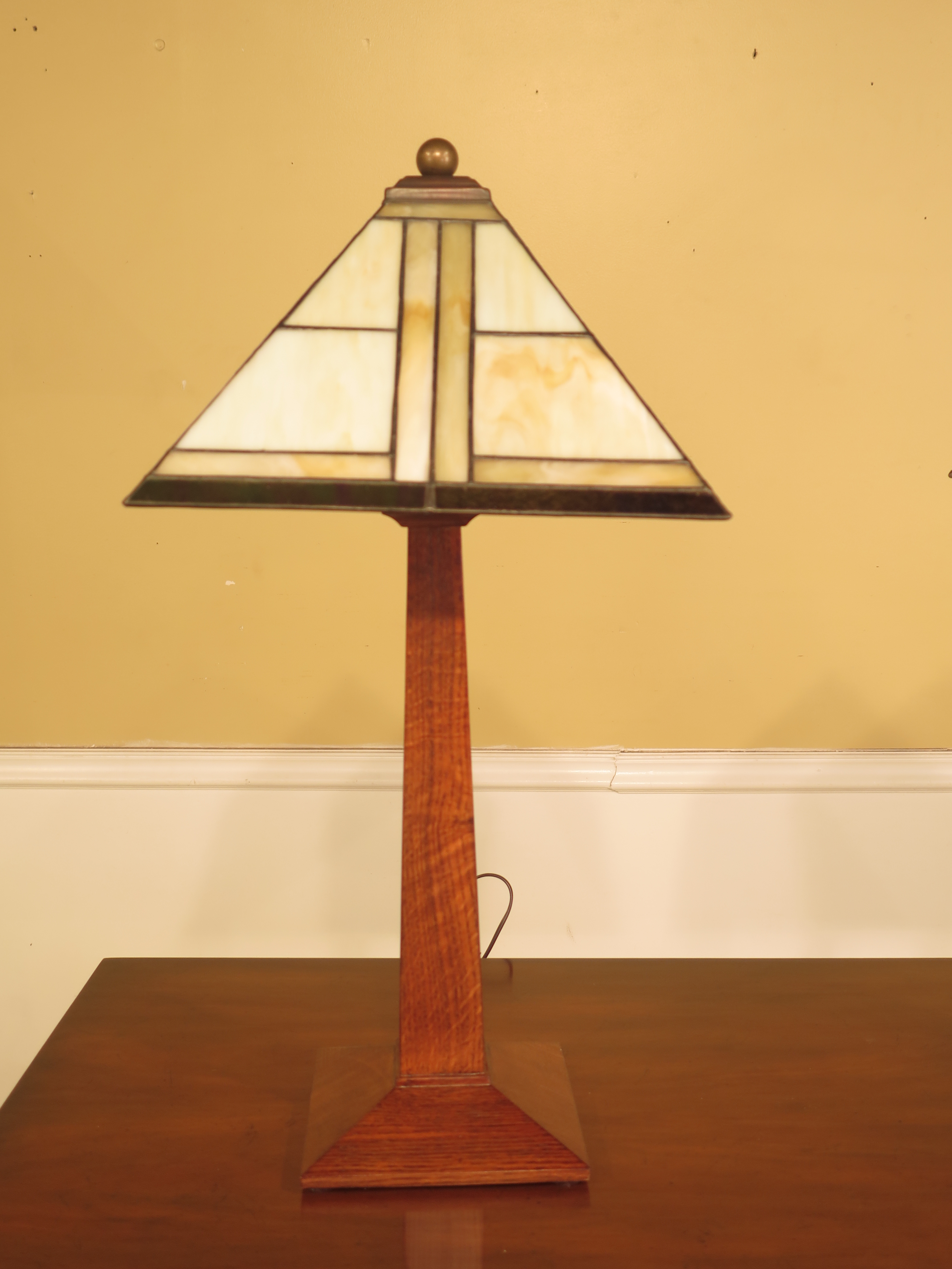 Item: 44092EC/93EC: Pair STICKLEY Arts U0026 Crafts Table Lamps W. Stained