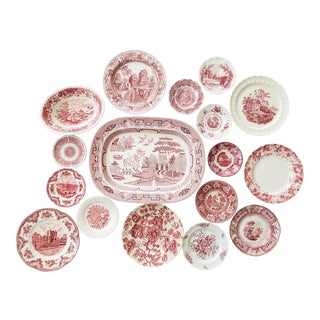 Vintage Chinoiserie China Plates-Set of 16 For Sale