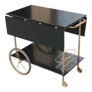 Beautiful Maison Jansen Ebonized Drop-Leaf Bar Cart Circa 1940s