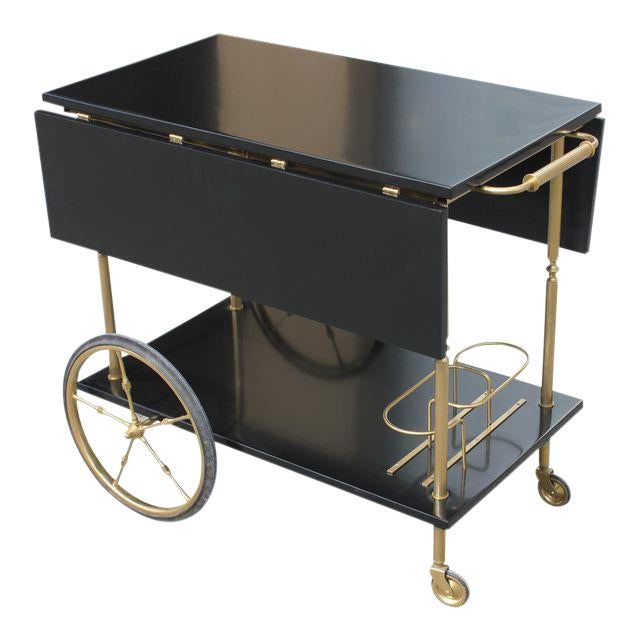 Beautiful Maison Jansen Ebonized Drop-Leaf Bar Cart Circa 1940s For Sale