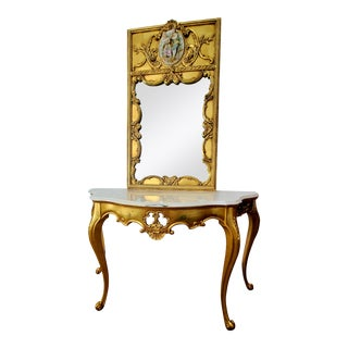 Italian Regency Giltwood Calacatta Marble Console Table and Mirror Set For Sale