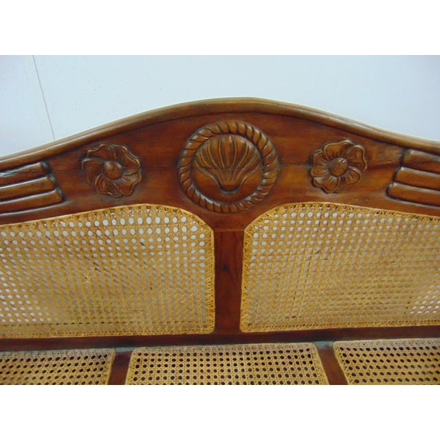 Anglo Indian Carved Mahogany & Cane Sofa For Sale In Philadelphia - Image 6 of 7
