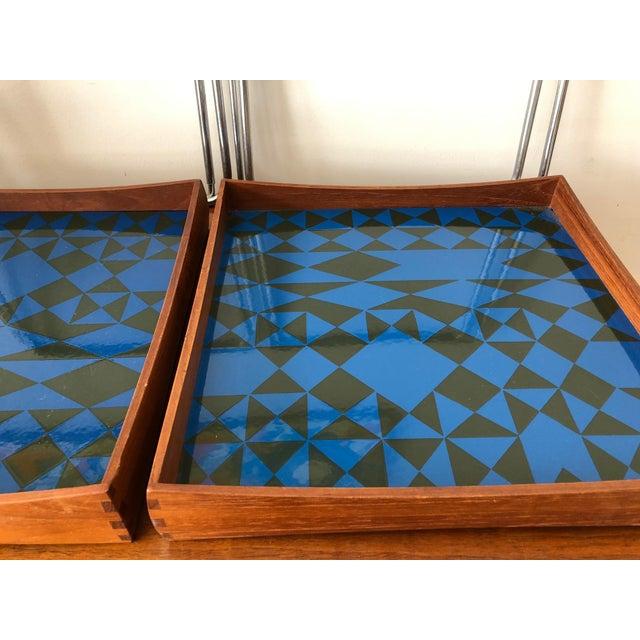 Blue 1960s Vintage Hermann Bongard for Plus-Linje Norwegian Enamel Tray Tables - A Pair For Sale - Image 8 of 12