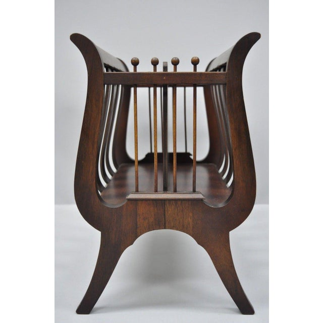 Antique Ferguson Mahogany Lyre Harp Form Magazine Rack Canterbury Stand For Sale In Philadelphia - Image 6 of 12