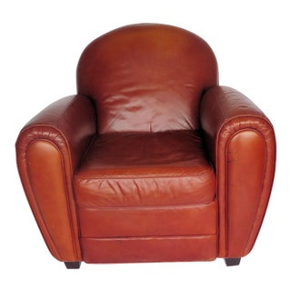French Style Leather Club Chair For Sale