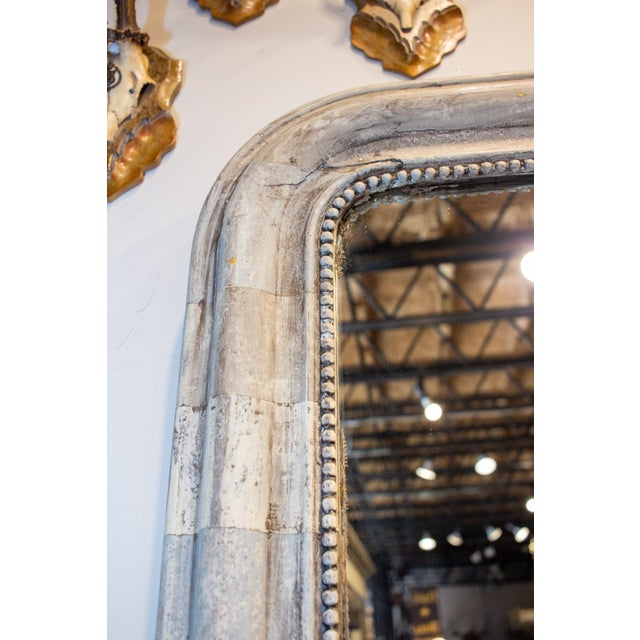 Greige Antique French Louis Philippe Mirror With Hand Painted Greige Stripe Finish For Sale - Image 8 of 13