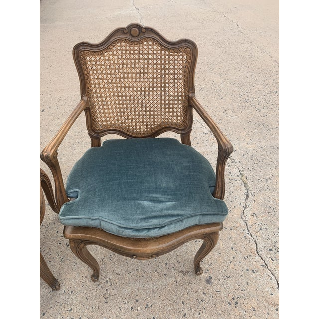 Blue Early 20th Century French Louis XV Style Walnut Caned Fauteuils- a Pair For Sale - Image 8 of 13
