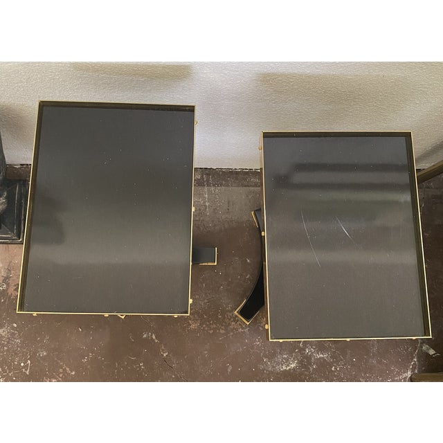 Contemporary Black and Gold Small Accent Tables - a Pair For Sale - Image 3 of 4