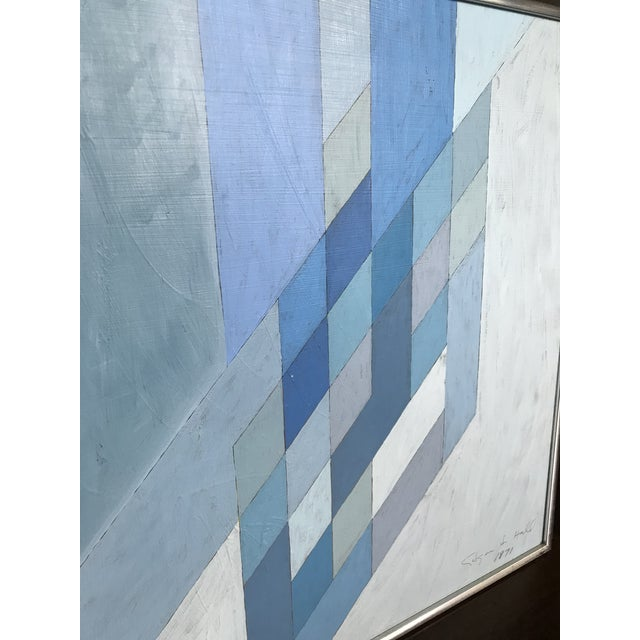 Paint 1970s Vintage Abstract Blue Geometric Painting For Sale - Image 7 of 10
