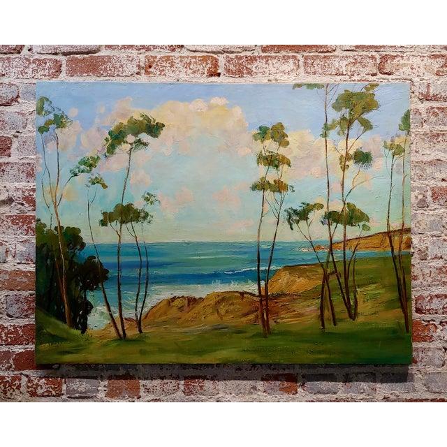 "Blue James Arthur Merriam ""California Coastline"" Oil Painting For Sale - Image 8 of 8"