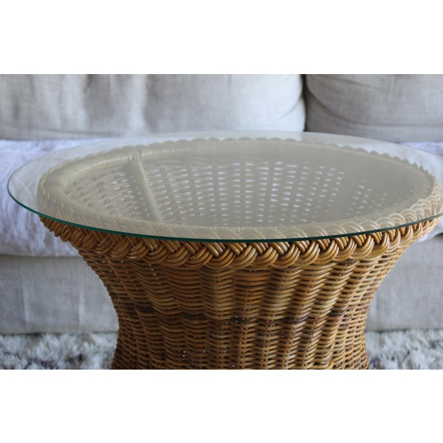 Vintage Mid Century the Wicker Works San Franisco Rattan Woven High End Tulip Side Table Albini Style For Sale In San Diego - Image 6 of 7