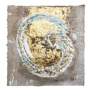 Wabi-Sabi .I Gold Leaf/Hand Made Japanese Parchment Painting For Sale